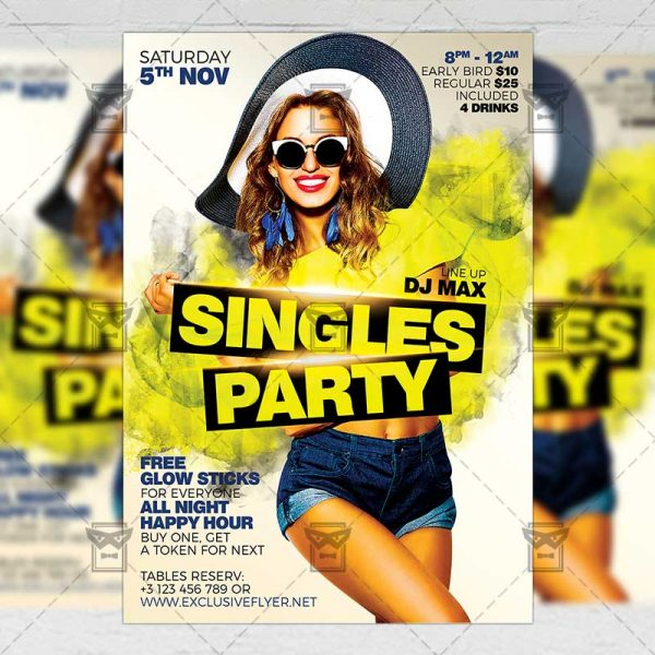 Download Singles Party PSD Flyer Template Now