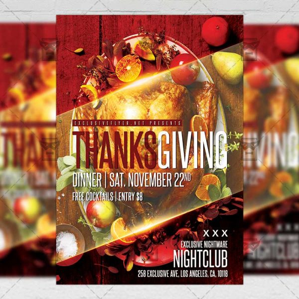 Download Thanksgiving Dinner PSD Flyer Template Now