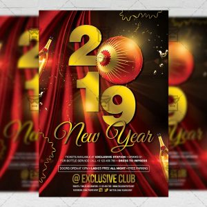 Download 2019 New Year Night PSD Flyer Template Now