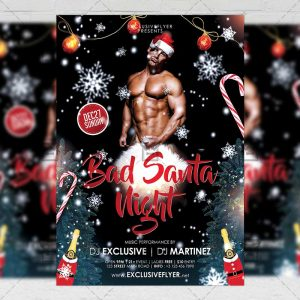Download Bad Santa Night PSD Flyer Template Now