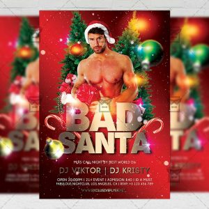 Download Bad Sexy Santa PSD Flyer Template Now