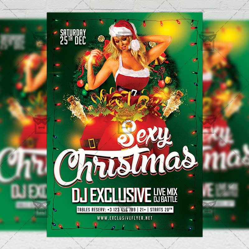 Seasonal A5 Flyer Template: Christmas Sexy Party Flyer