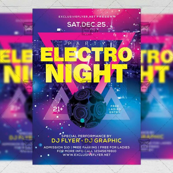 Download Electro Night PSD Flyer Template Now