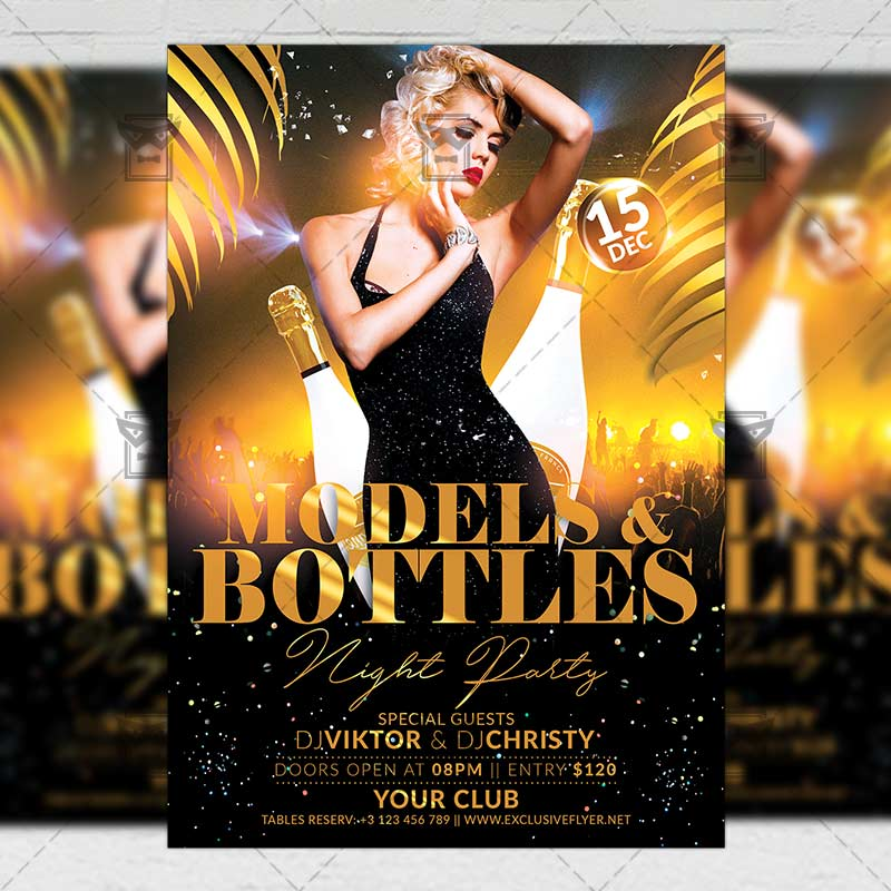 15 Excellent Flyer Templates For Your Next Event: Models And Bottles Night Flyer