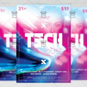 Download Tech House Party PSD Flyer Template Now