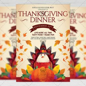 Download Thanksgiving Family Dinner PSD Flyer Template Now