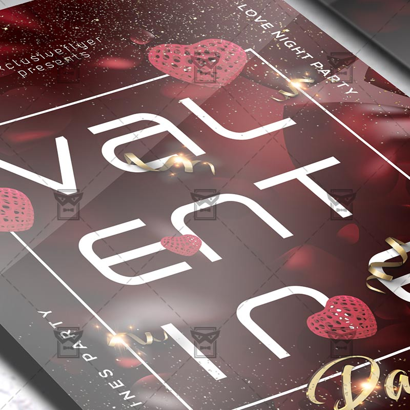 Mom Day Sale Ͽ� Seasonal A5 Flyer Template: V-Day Party Flyer €� Valentines A5 Template