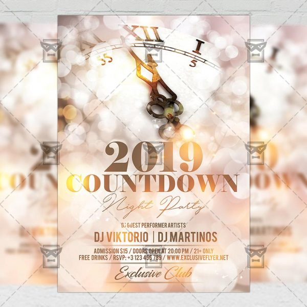 Download Countdown Night Party PSD Flyer Template Now