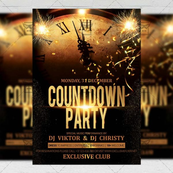 Download Countdown Party PSD Flyer Template Now