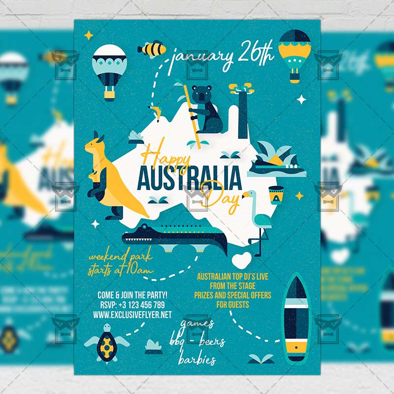 Mom Day Sale Ͽ� Seasonal A5 Flyer Template: Happy Australia Day Flyer