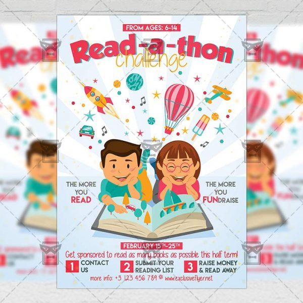 Download Read-a-thon Challenge PSD Flyer Template Now