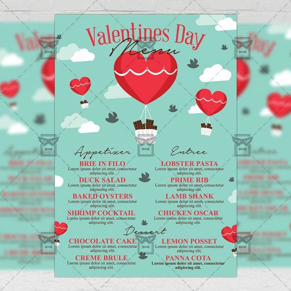 Download Valentines Day Menu PSD Flyer Template Now