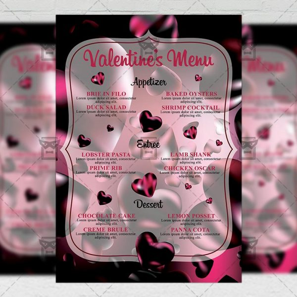 Download Valentines Menu PSD Flyer Template Now