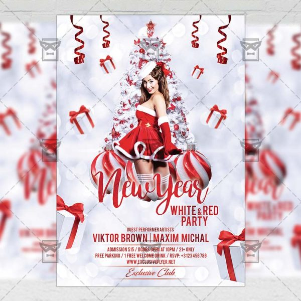 Download White New Year Night PSD Flyer Template Now