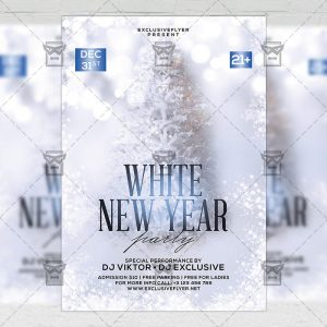 Download White New Year Party PSD Flyer Template Now