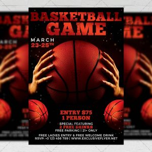 Download Basketball Game Night PSD Flyer Template Now
