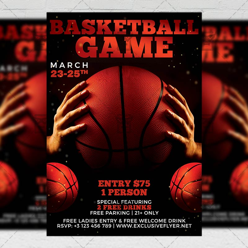 Basketball Game Night Flyer Sport A5 Template Exclsiveflyer