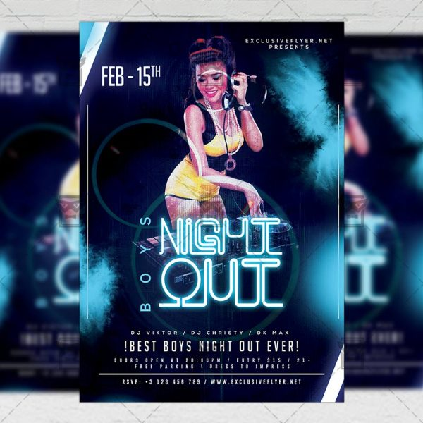 Download Boys Night Out PSD Flyer Template Now