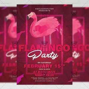Download Flamingo Night PSD Flyer Template Now