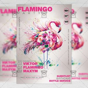 Download Flamingo Party PSD Flyer Template Now
