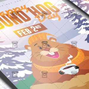 Download Happy Ground Hog Day PSD Flyer Template Now