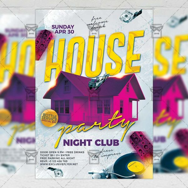 Download House Party Night PSD Flyer Template Now