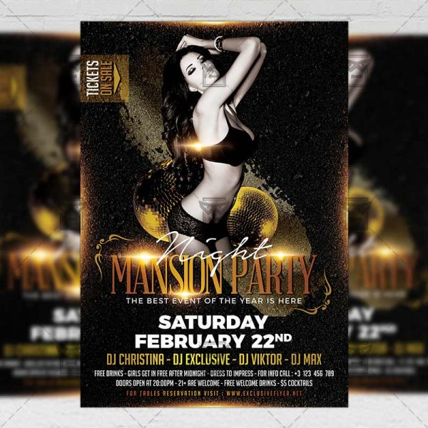 Download Mansion Party Night PSD Flyer Template Now