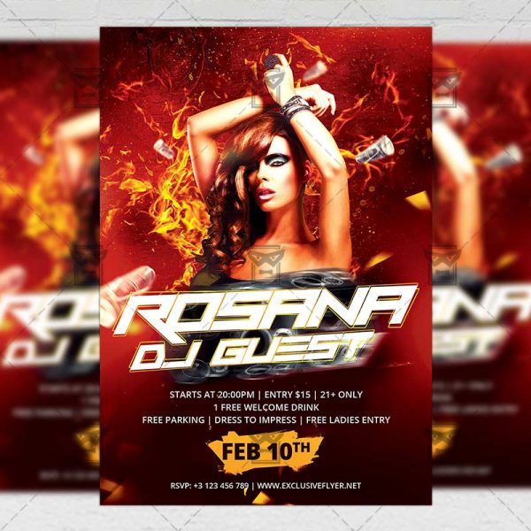 Download Rosana Special Dj Guest PSD Flyer Template Now