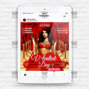 Download Valentine Day PSD Instagram Flyer Template Now