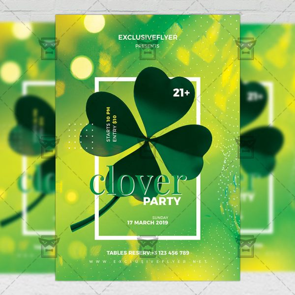 Download Clover Party PSD Flyer Template Now