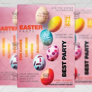 Download Easter Party Celebration Free Seasonal A5 Flyer PSD Template Now