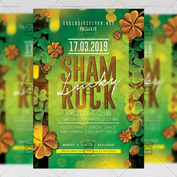 Download Lucky Shamrock Night PSD Flyer Template Now