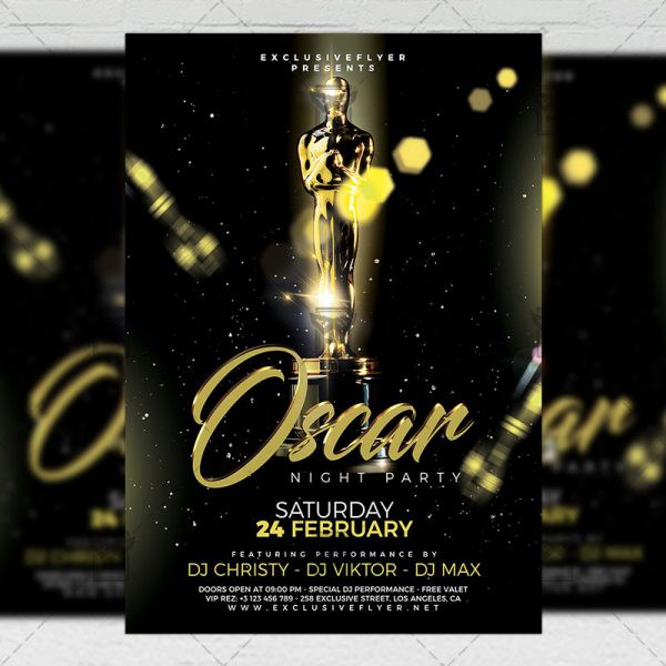 Download Oscar Night Party PSD Flyer Template Now