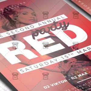 Download Red Party PSD Flyer Template Now