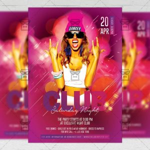 Download Saturday Club Party PSD Flyer Template Now