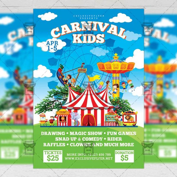 Download Spring Kids Carnival PSD Flyer Template Now