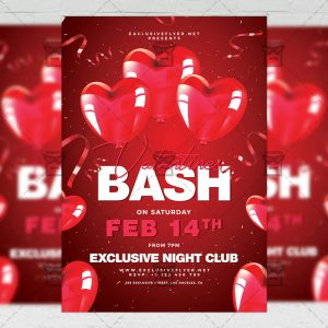 Download Valentines Bash PSD Flyer Template Now