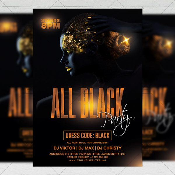 Download All Black Night Party PSD Flyer Template Now