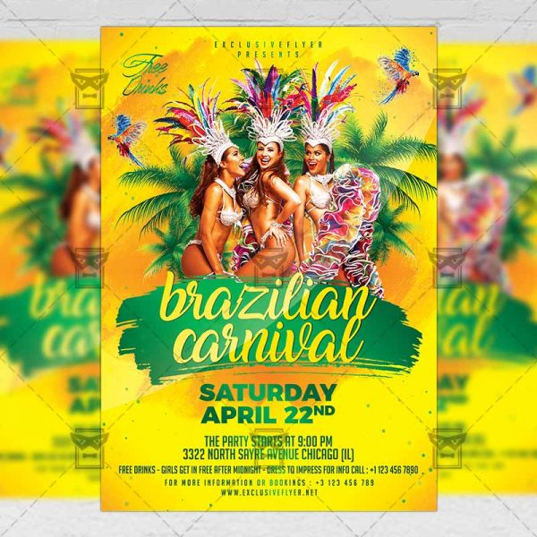 Download Brazilian Carnival Event PSD Flyer Template Now