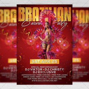 Download Brazilian Carnival Party PSD Flyer Template Now