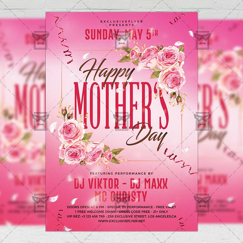 Mothers Day Flyer: Happy Mother Day 2019 Flyer