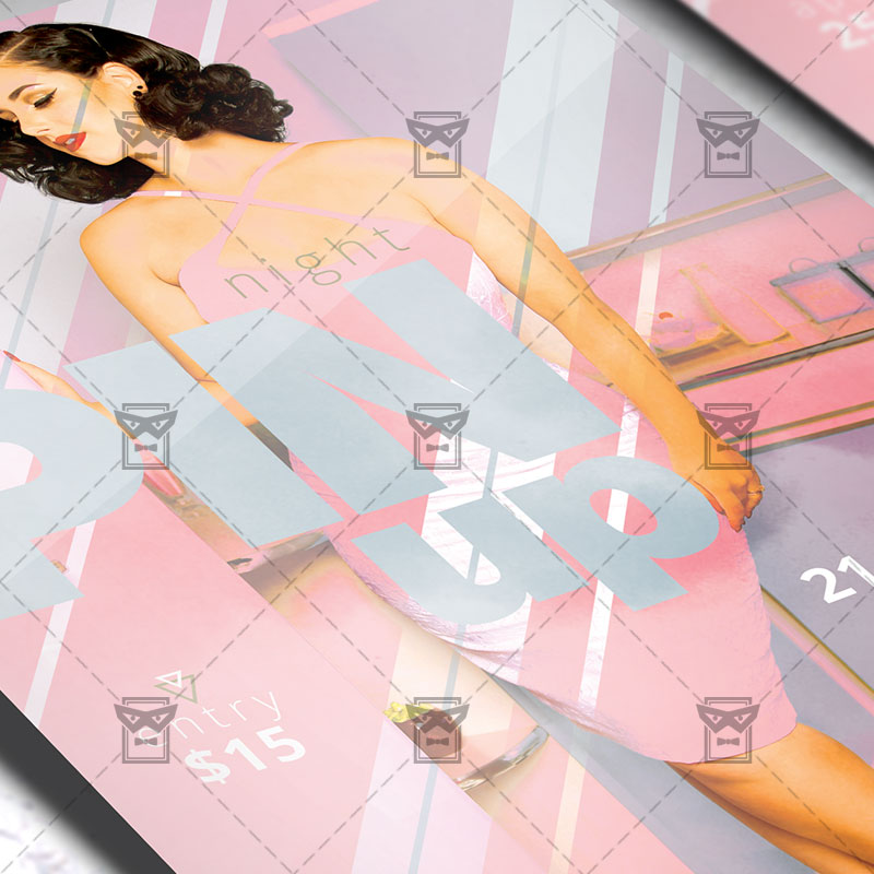 Download Pin Up Night PSD Flyer Template Now