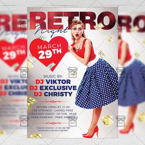 Download Retro Night PSD Flyer Template Now