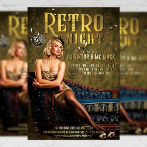 Download Retro Night Party PSD Flyer Template Now