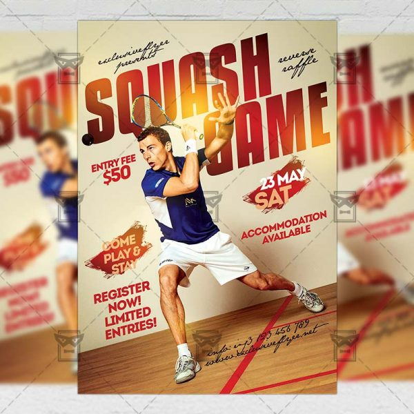 Download Squash Game PSD Flyer Template Now