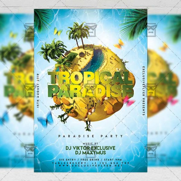 Download Tropical Paradise Party PSD Flyer Template Now