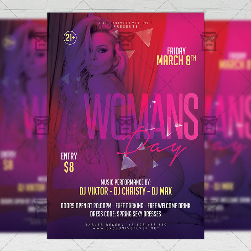 Mom Day Sale Ͽ� Seasonal A5 Flyer Template: Woman's Day Party Flyer