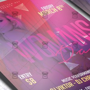 Download Woman's Day Party Night PSD Flyer Template Now