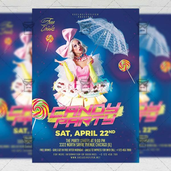Download Candy Party PSD Flyer Template Now