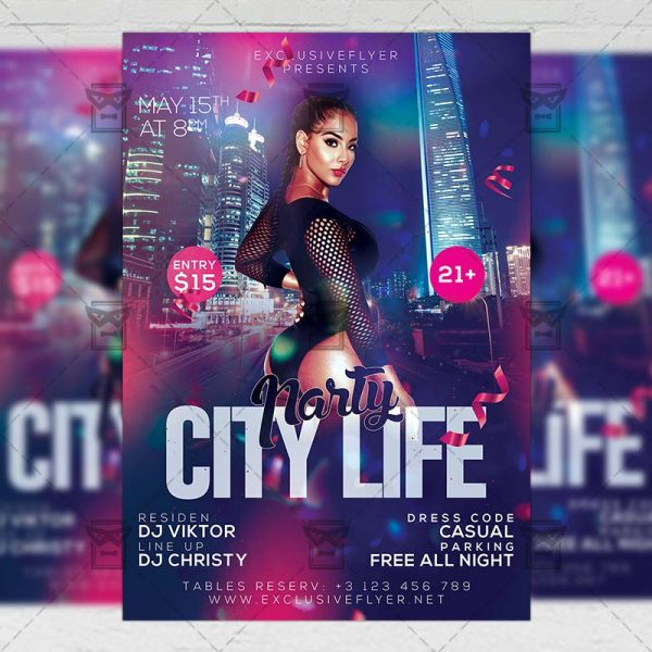 Download City Life Party PSD Flyer Template Now